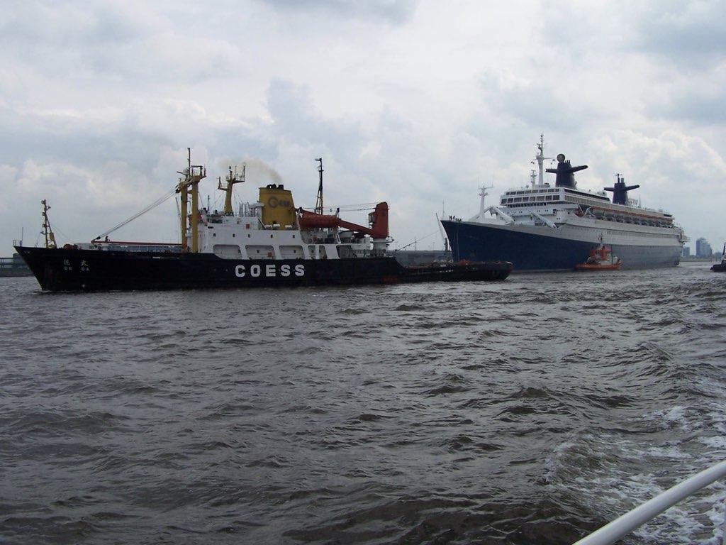 REPORTAGE-25 MAI 2005-DERNIER DÉPART DU SS NORWAY BREMERHAVEN..048